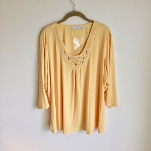 Susan Graver Yellow TOP W/ Sequins NWTS Size 2X